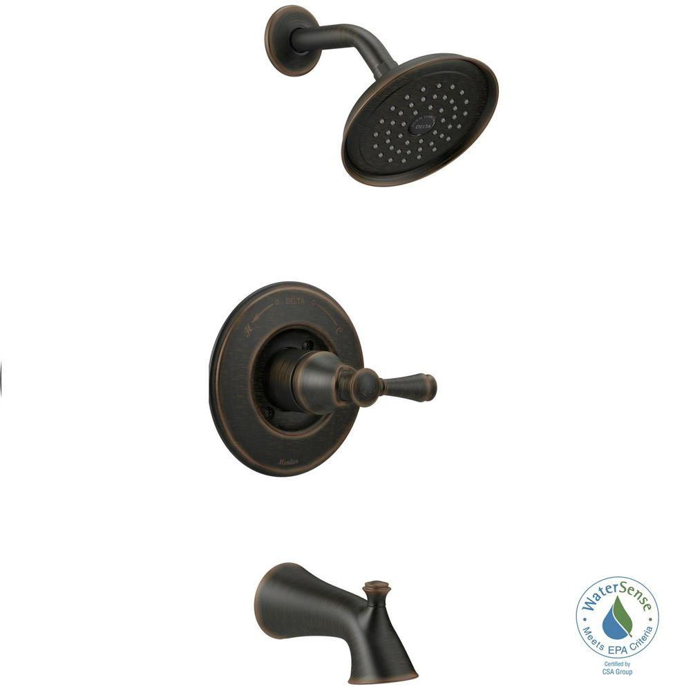 Silverton Single-Handle 1-Spray Tub and Shower Faucet in Venetian Bronze (Valve