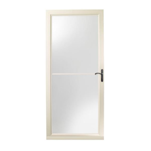 36 in. x 80 in. 3000 Series Almond Right-Hand Self-Storing Easy Install Storm Door with Oil-Rubbed Bronze Hardware