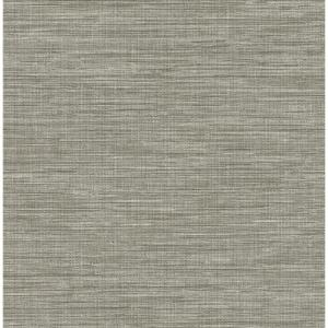 A Street Exhale Grey Faux Grasscloth Wallpaper Sample 2744