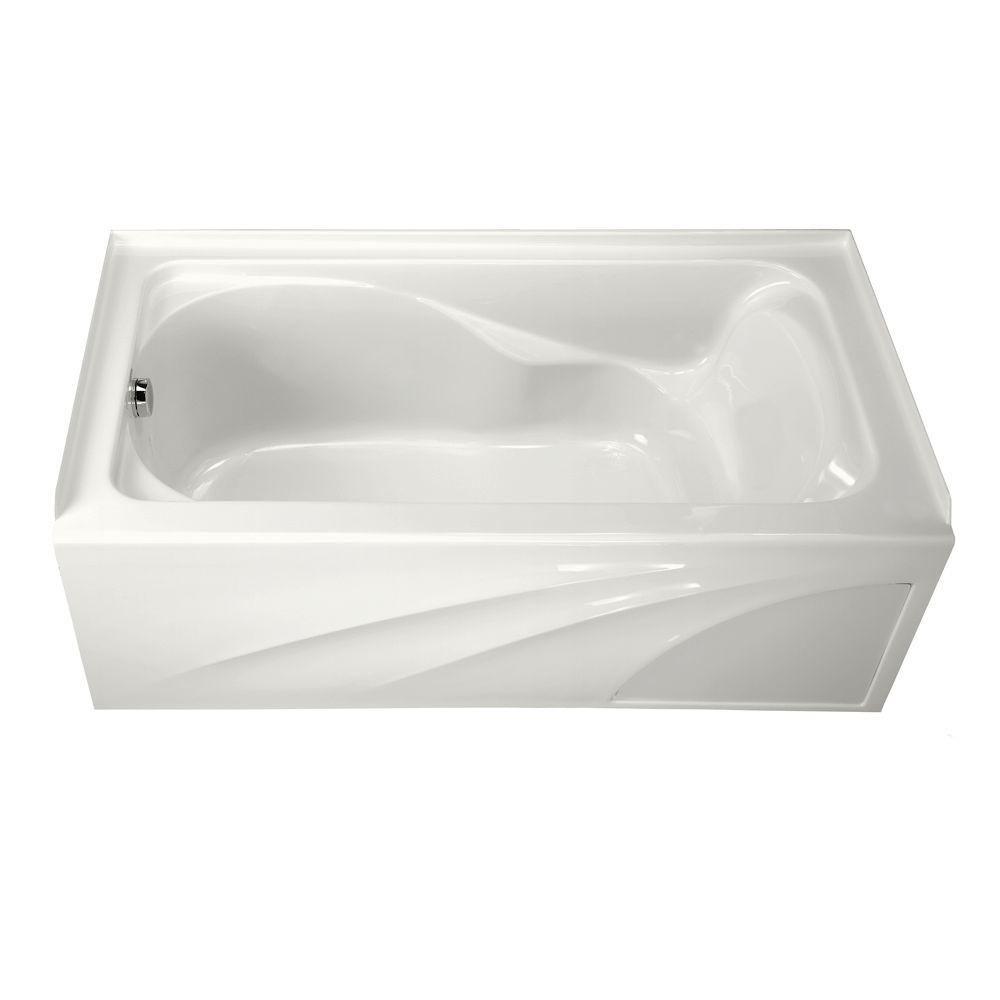 Left Hand Drain Integral A Bathtub In White