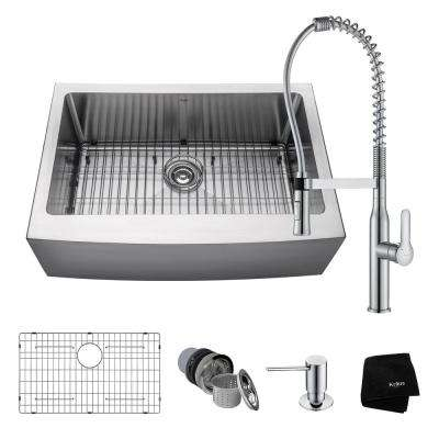 All-in-One Farmhouse Apron Front Stainless Steel 30 in. 0-Hole Single Bowl Kitchen Sink with Faucet in Chrome