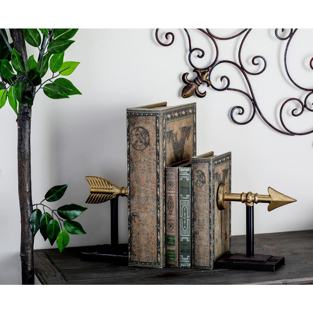 Metallic Gold Arrow Bookends (Set of 2)