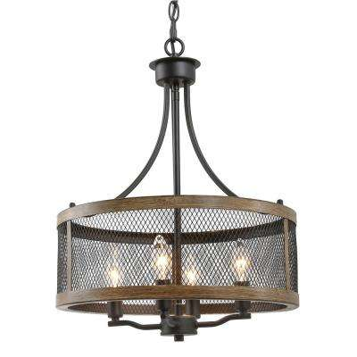 Eniso 16 in. 4-Light Black Mesh Iron Drum Chandelier with Painted Pine Accents