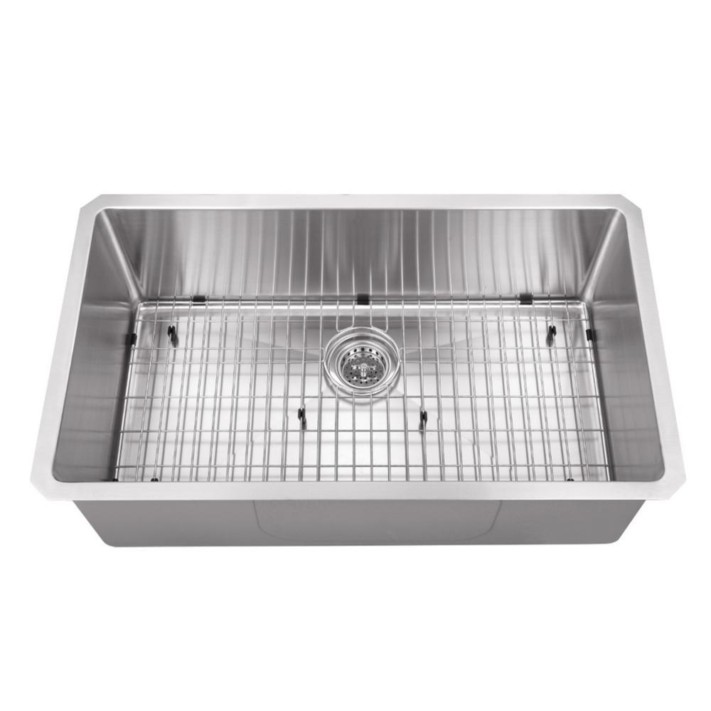 Undermount Stainless Steel 32 in. Zero Radius Corner Single Bowl Kitchen Sink
