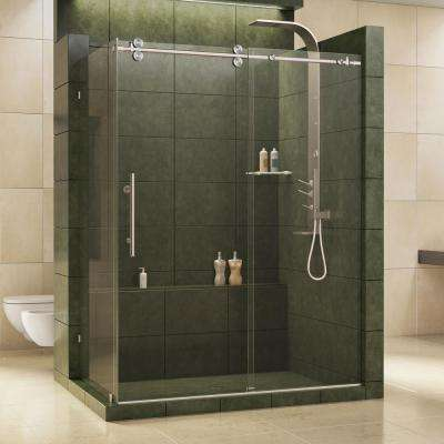 Enigma 36 in. x 60-1/2 in. x 79 in. Frameless Sliding Corner Shower Enclosure in Brushed Stainless Steel, 1/2 in. Glass