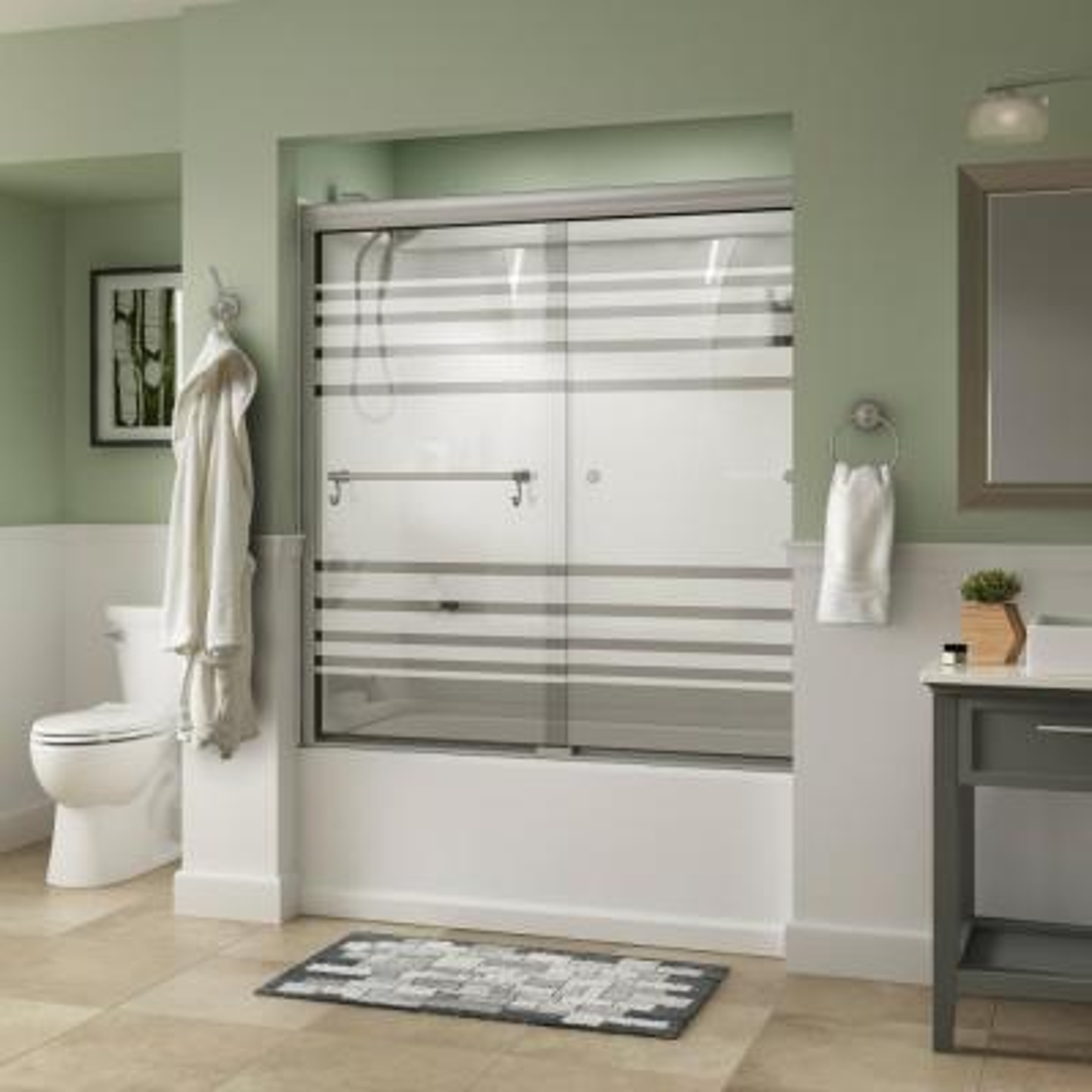 Portman 60 in. x 58-1/8 in. Semi-Frameless Traditional Sliding Bathtub Door in Nickel with Transition Glass