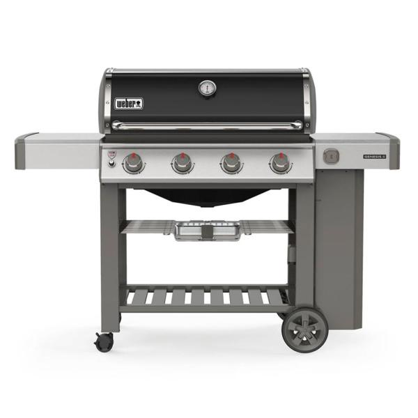 Weber Genesis Ii E 410 4 Burner Propane Gas Grill In Black With Built In Thermometer 62011001 The Home Depot