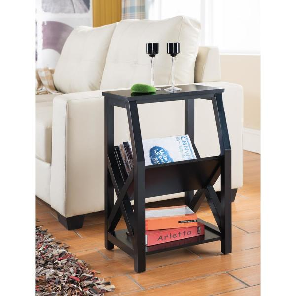 Black Wood Magazine Rack End Table