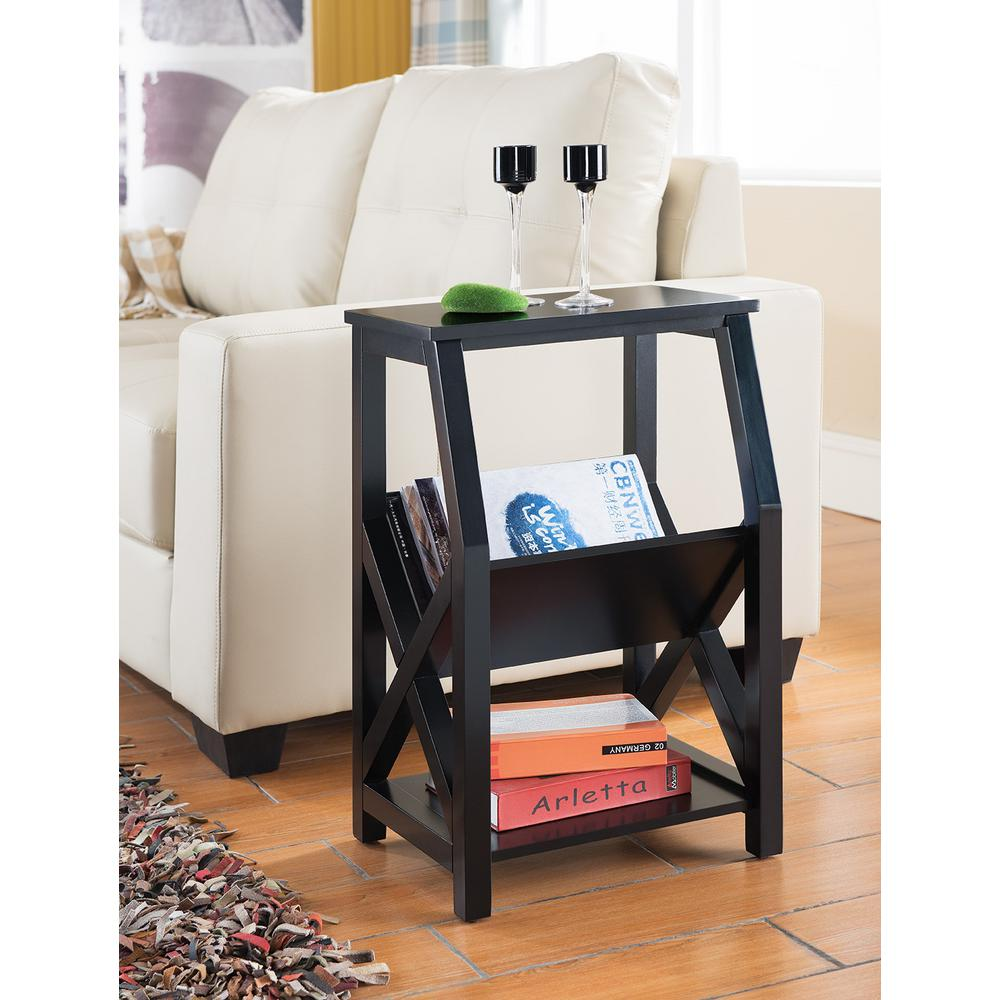 Kings Brand Furniture Black Wood Magazine Rack End Table