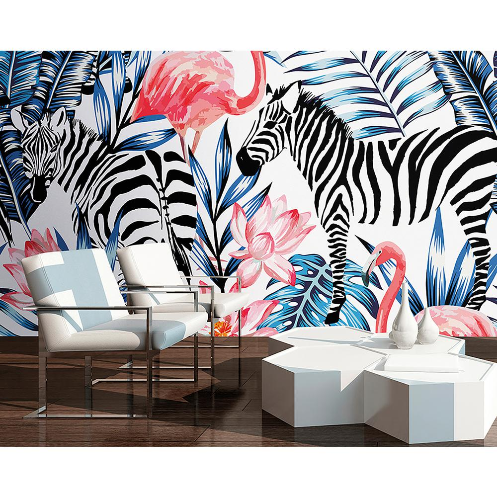 Zebra and Flamingo Wall Mural WALS0213 The Home Depot