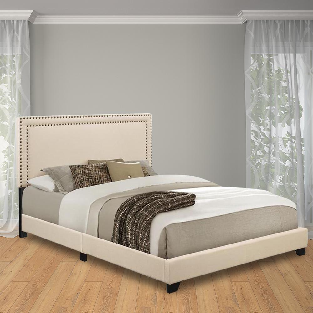 Cream Queen Upholstered Bed