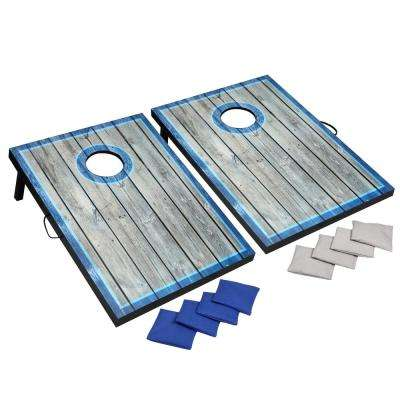 LED Cornhole Set with Target Boards and 8 Bean Toss Bags in Blue/White