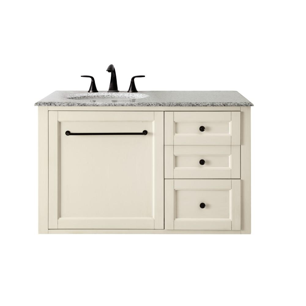 Home Decorators Collection Hamilton 39 in. W Wall Hung Single Vanity in Ivory with Granite Vanity Top in Grey with White Sink