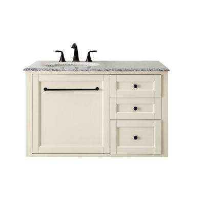 Hamilton 39 in. W Wall Hung Single Vanity in Ivory with Granite Vanity Top in Grey with White Sink