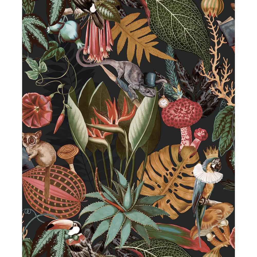 "Charcoal ""A Tropical Soiree"" Wallpaper / Botanical Wallpaper / Tropical Wallpaper / Removable Double Roll Wallpaper"