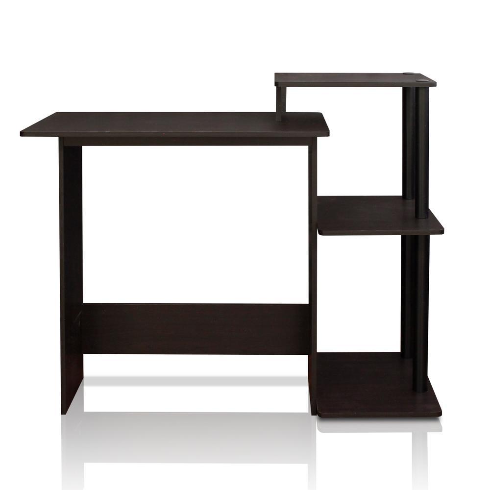 Furinno Efficient Espresso and Black Home Computer Desk with Shelves 11192EX/BK