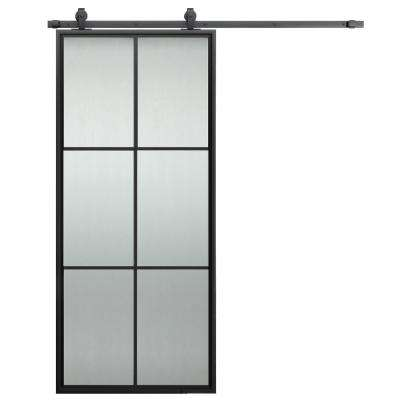 38 in. x 84 in. Black Metal 6-Lite Barn Door with Tempered Sandblasted Glass, Black Top Mounted Hardware Kit and Handle