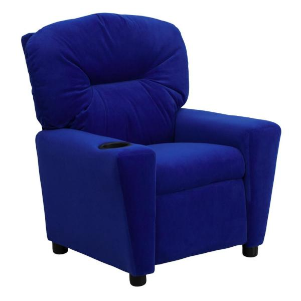 Flash Furniture Contemporary Blue Microfiber Kids Recliner With Cup