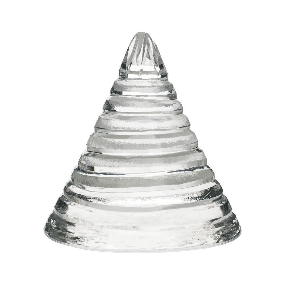 5 in. Sliced Glass Cone Decorative Sculpture in Clear