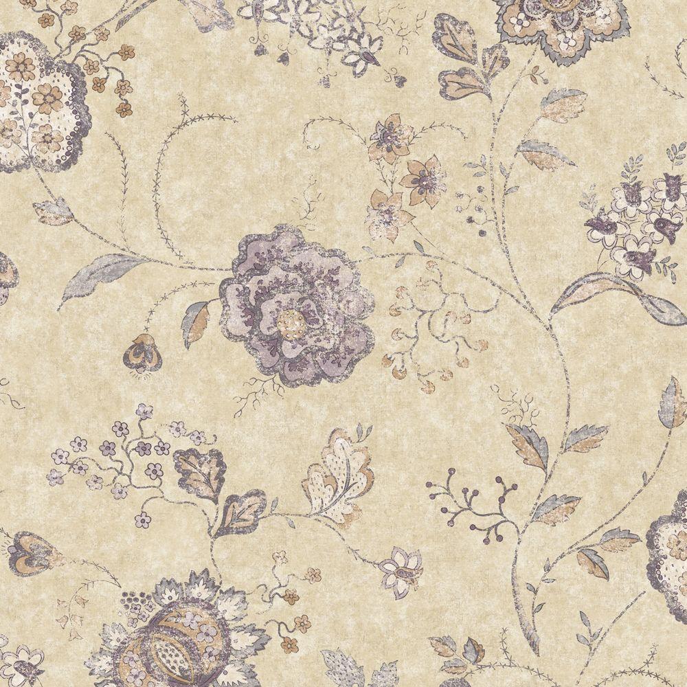 The Wallpaper Company 56 sq. ft. Purple Jacobean Floral Wallpaper
