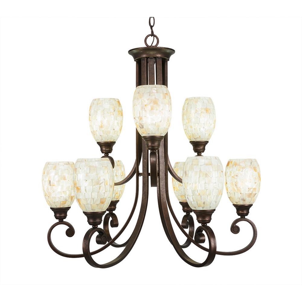 9-Light Bronze Chandelier with Ivory Glaze Seashell Glass Shade