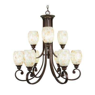 9-Light Bronze Chandelier with Ivory Glaze Seashell Glass Shade