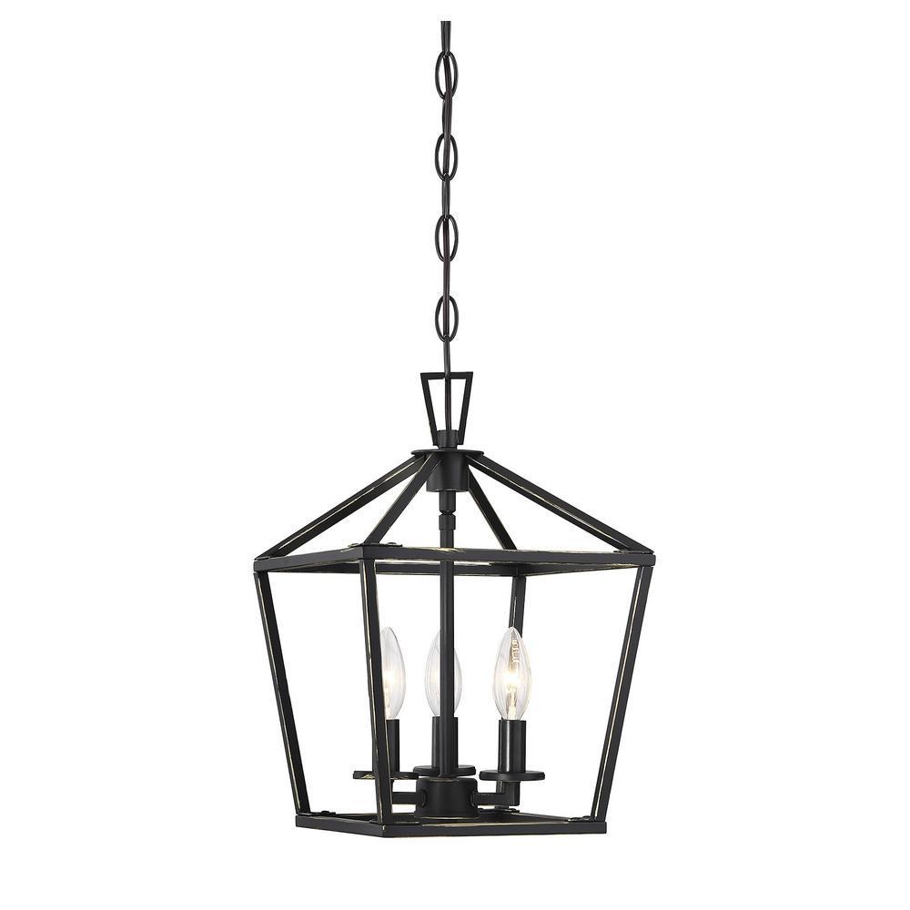 3-Light Matte Black Pendant