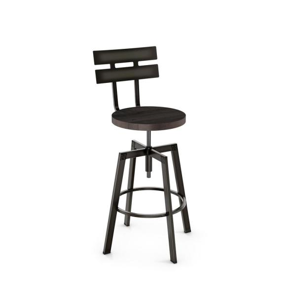 Amisco Rawdon Semi-Transparent Gun Metal Medium Dark Grey Wood Adjustable Stool