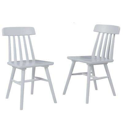 Brookside White Armless Wood Dining Chair (Set of 2)