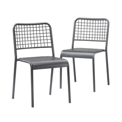 Boulevard Cafe Black Metal 2-Pack Dining Chair
