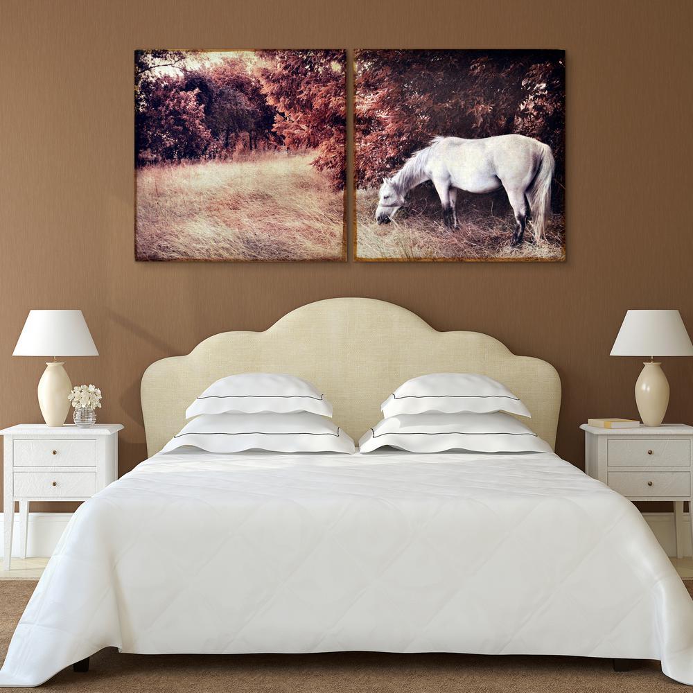 """38 in. x 38 in. """"White Horse - set of 2"""" 2 Piece Digital Print on Fresco Jute Wall Art"""