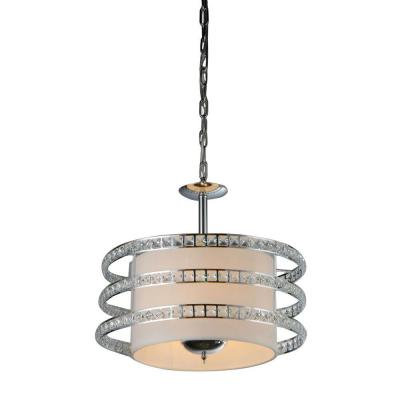 Elizabeth 3-Light Chrome Indoor Crystal Chandelier with Shade