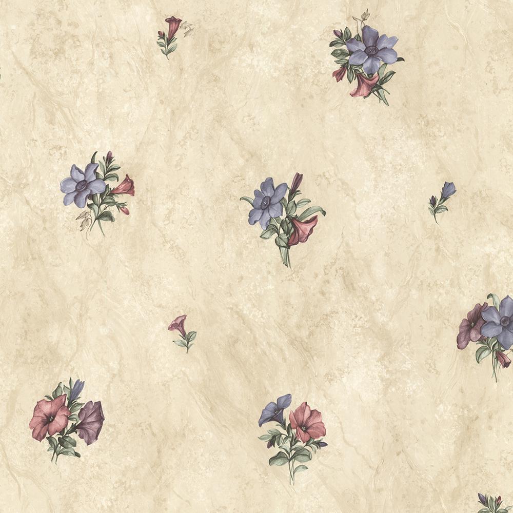 56.4 sq. ft. Petunia Purple Marble Floral Wallpaper