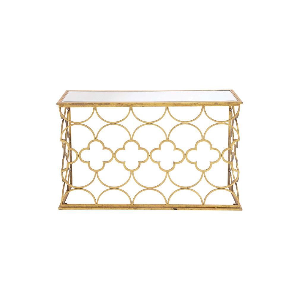 Textured Gold Mirrored Glass Rectangular Console Table With Quatrefoil And  Semi Circle Pattern Design
