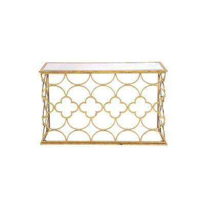 Textured Gold Mirrored Glass Rectangular Console Table with Quatrefoil and Semi-Circle Pattern Design