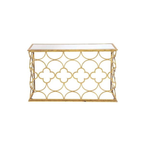 65a9015b7f0cc7 Litton Lane Textured Gold Mirrored Glass Rectangular Console Table with  Quatrefoil and Semi-Circle Pattern