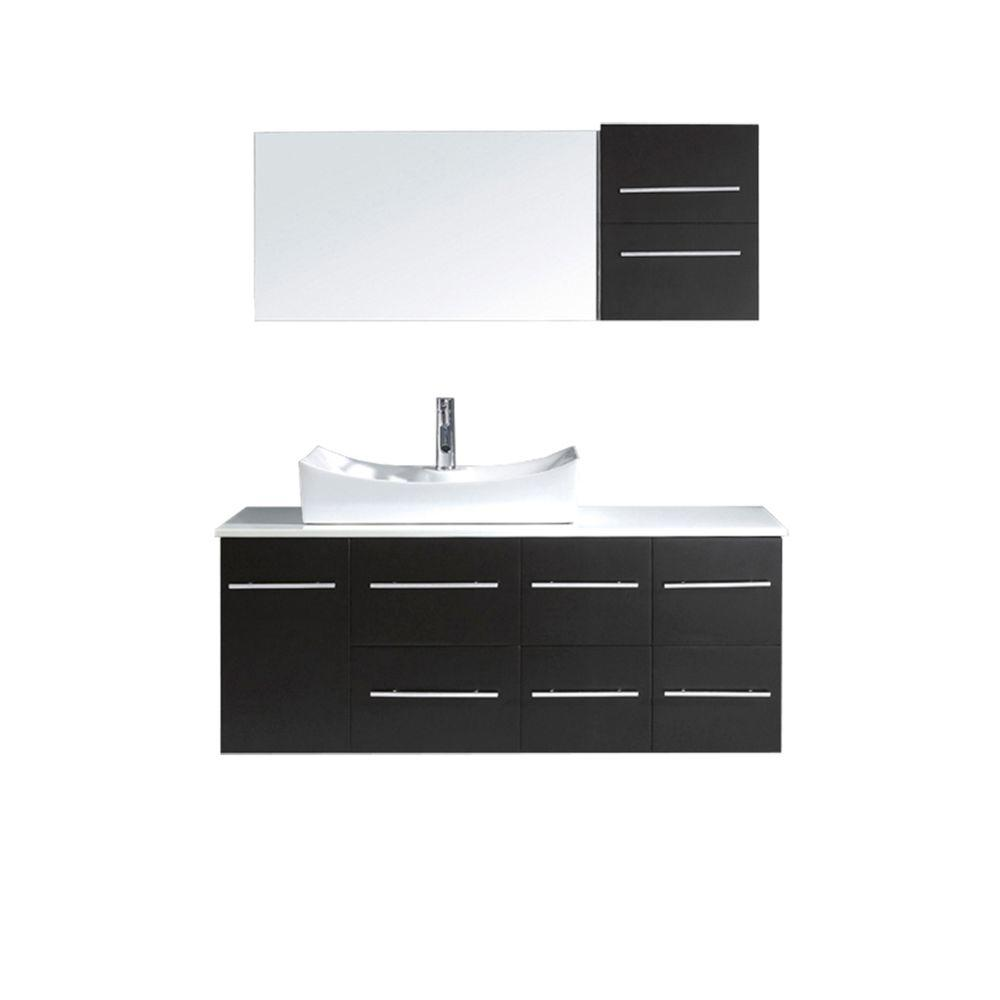 Virtu USA Ceanna 54 in. W Bath Vanity in Espresso with Stone Vanity Top in White with Square Basin and Mirror and Faucet