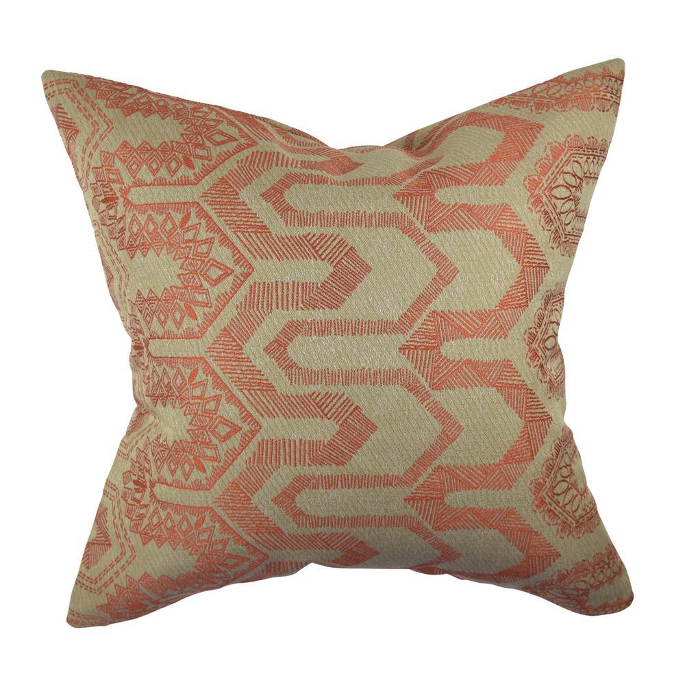 Orange Aztec Jacquard Throw Pillow