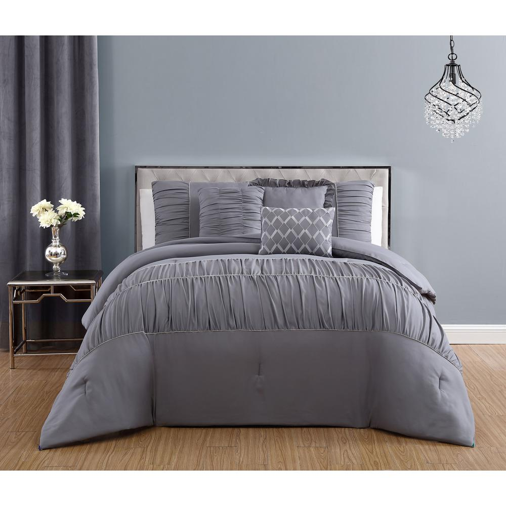 geneva home fashion reina 7 piece light grey queen comforter set with rhinestone trim. Black Bedroom Furniture Sets. Home Design Ideas