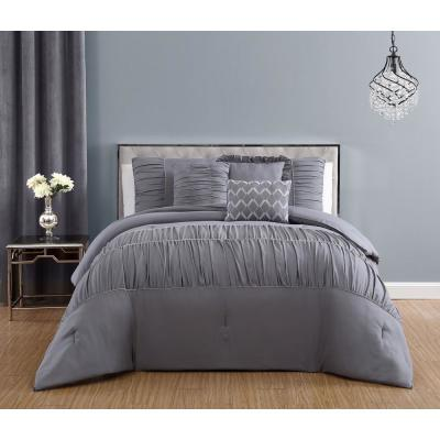 Reina 7-Piece Light Grey Queen Comforter Set with Rhinestone Trim