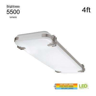 Mission Style 4 ft. Rectangular Brushed Nickel 128 Watt Equivalent Integrated LED Flushmount with Color Changing Feature