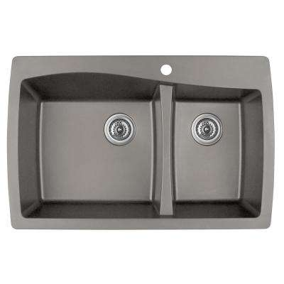 Drop-In Quartz Composite 34 in. 1-Hole 60/40 Double Bowl Kitchen Sink in Concrete