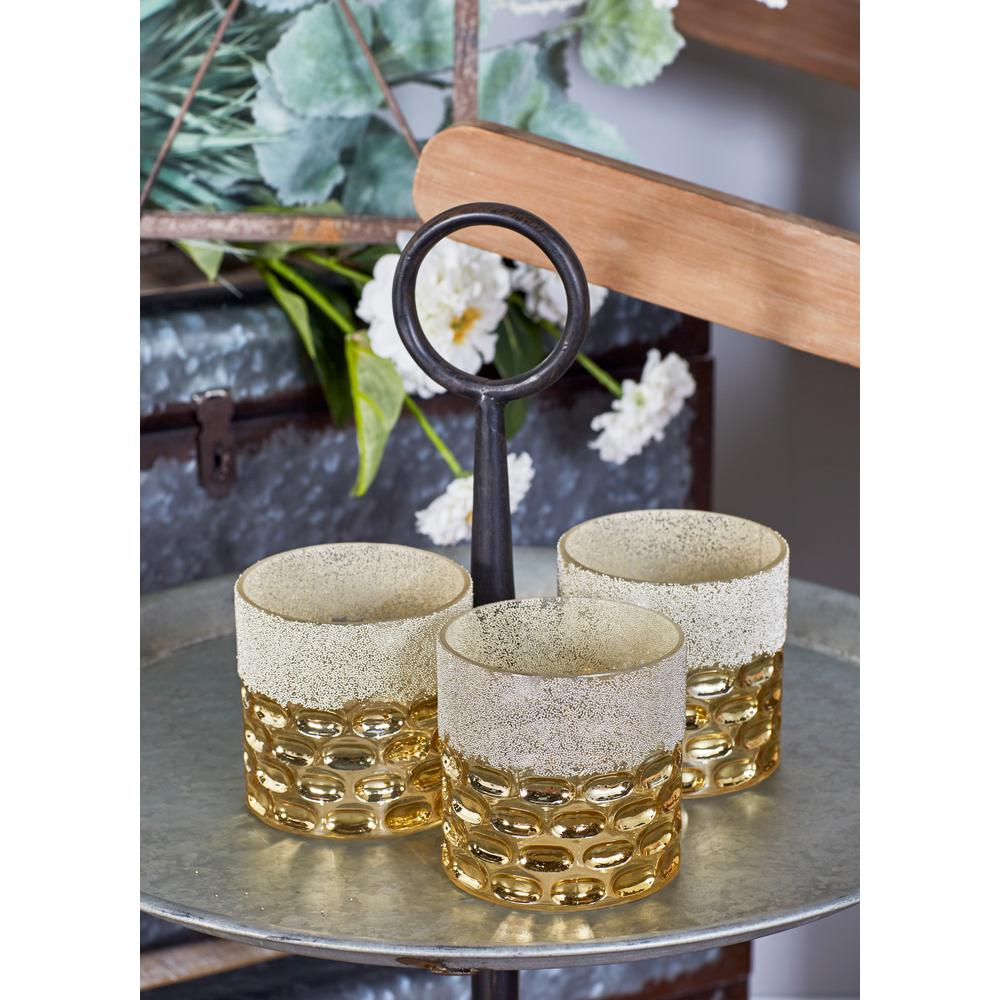 Gold and White Glass Candle Holders (Set of 3)