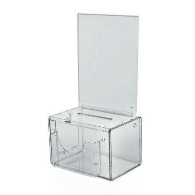 Large Acrylic Lottery Box with Lock and Key, Clear