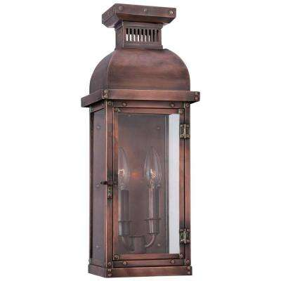 Copperton 2-Light Manhattan Copper Outdoor Pocket Wall Lantern Sconce