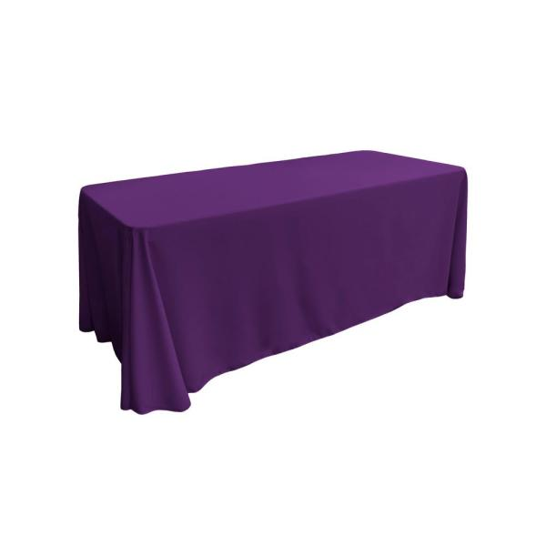 90 in. x 132 in. Purple Polyester Poplin Rectangular Tablecloth