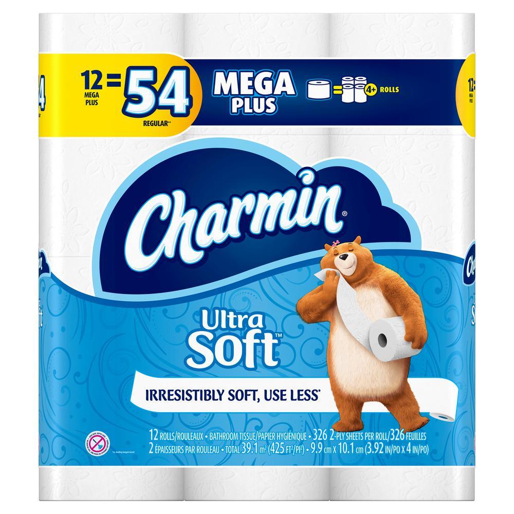 Charmin Ultra Soft Toilet Paper 12 Mega Plus Rolls Case
