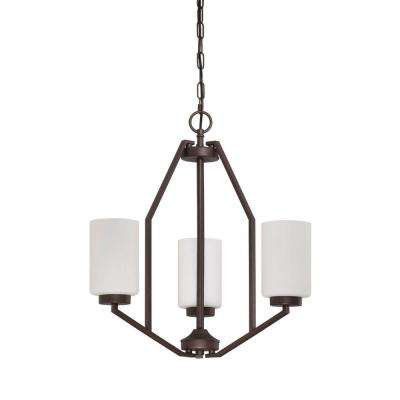 Axiom Chandelier 3-Light Blackened Bronze Chandelier with Frosted Milk Glass Shade