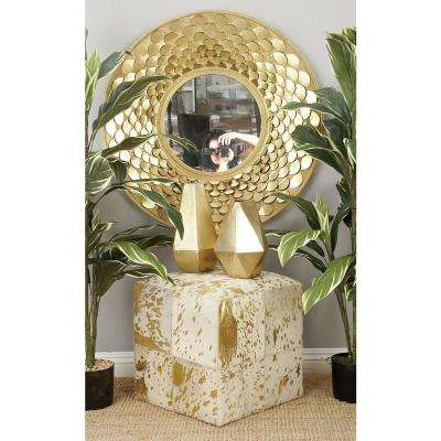 Gold Square Ottoman with White Highlights