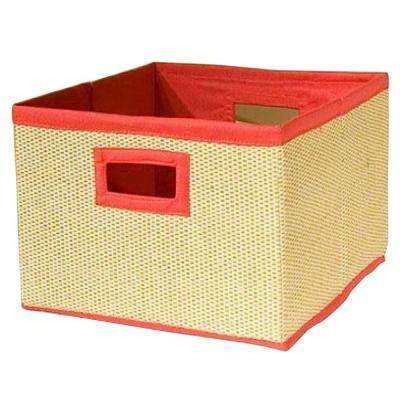 13 in. x 8 in. Cream and Red Storage Baskets (Set of 3)